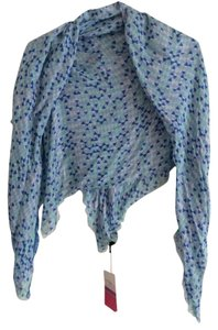 Tiara Accessory Tiara Accessory Blue Mixed Geometric Print Silk Scarf Wrap - Made in India