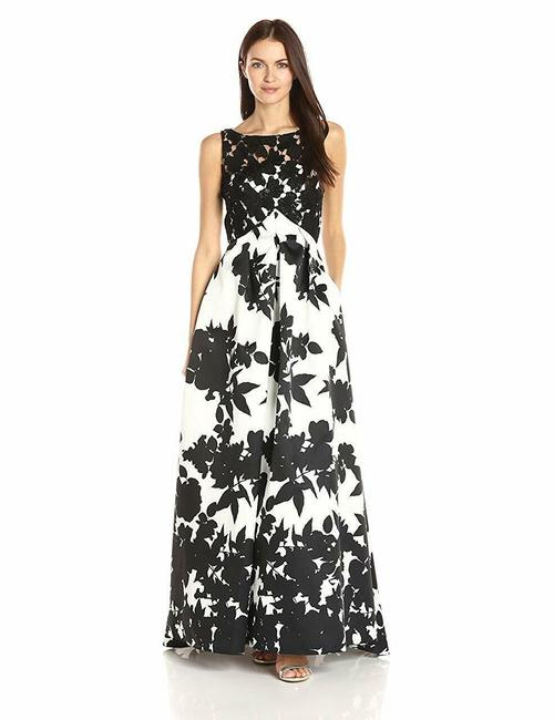Item - Black/White Infusion Black/Wht Mikado Ballgown with Lace Bodice Long Formal Dress Size 10 (M)