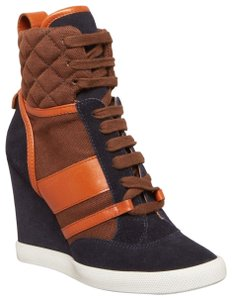 Chloé Wedge Sneakers Suede navy blue brown Boots