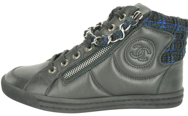 Item - Black Leather High Top Large Cc Logo Chain Strap Sneakers Size EU 35 (Approx. US 5) Regular (M, B)