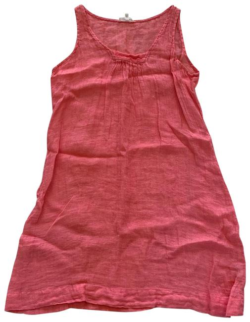 Item - Coral Pink Orange Like New Linen Mid-length Short Casual Dress Size 8 (M)
