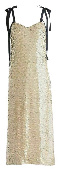 Item - Yellow G5352 Collection Champagne Beige Tie-shoulder Sequin Mid-length Cocktail Dress Size 12 (L)