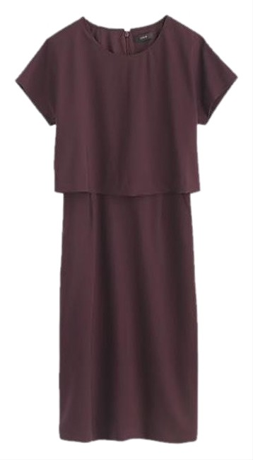 Item - Plum Two-tier (Italian Stretch Wool) Mid-length Work/Office Dress Size 2 (XS)