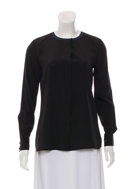 Item - Black and Navy Color Silk Button/Up Long Sleeves Button-down Top Size 0 (XS)