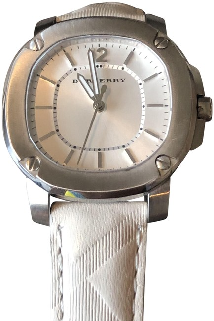 Item - Silver On White Strap New Britain Bby 1708 Ss Ladies Leather Watch