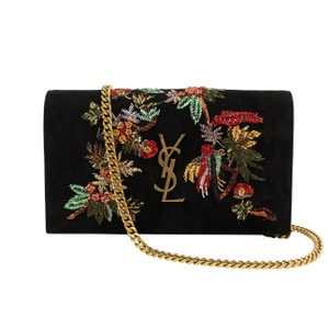 Saint Laurent Suede Embroidered Chain Gold Hardware Leather Cross Body Bag