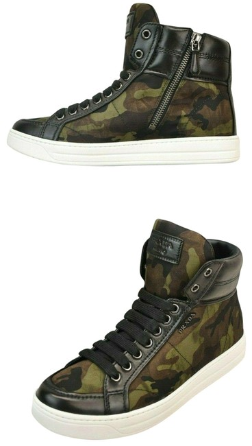 Item - Black Camouflage Fabric Logo Lace Up Zip Hi Top Sneakers Size EU 41 (Approx. US 11) Regular (M, B)