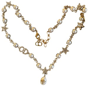Dior DIOR Antique Gold Pearl Bee & Star Choker Necklace