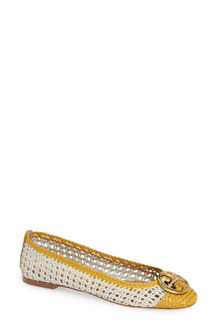 Item - White and Yellow Chelsea Woven Leather Flats Size US 9.5 Regular (M, B)