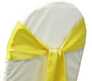 100 Yellow Satin Chair Sashes