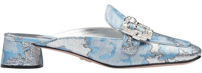 Item - Azure Broach Azzurro Calzature Donna 36.5 Jacquard Crystal Buckle Mules/Slides Size US 6.5 Regular (M, B)