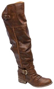 Jellypop Over The Knee Slouchy Tall Flat Moto Brown Boots