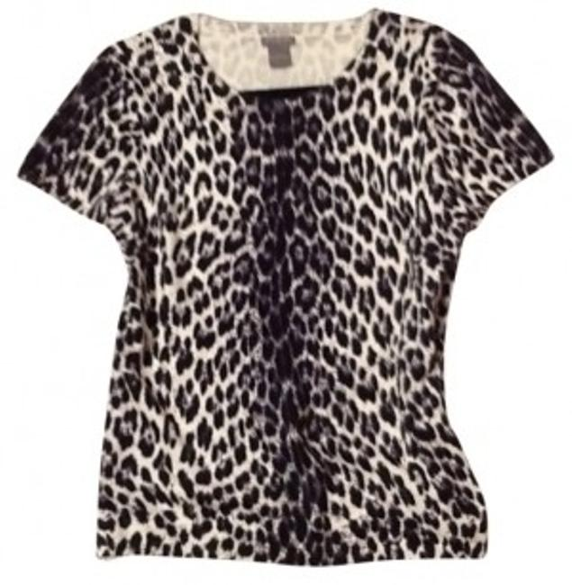 Preload https://item3.tradesy.com/images/ann-taylor-black-and-white-animal-print-sweaterpullover-size-12-l-26462-0-0.jpg?width=400&height=650