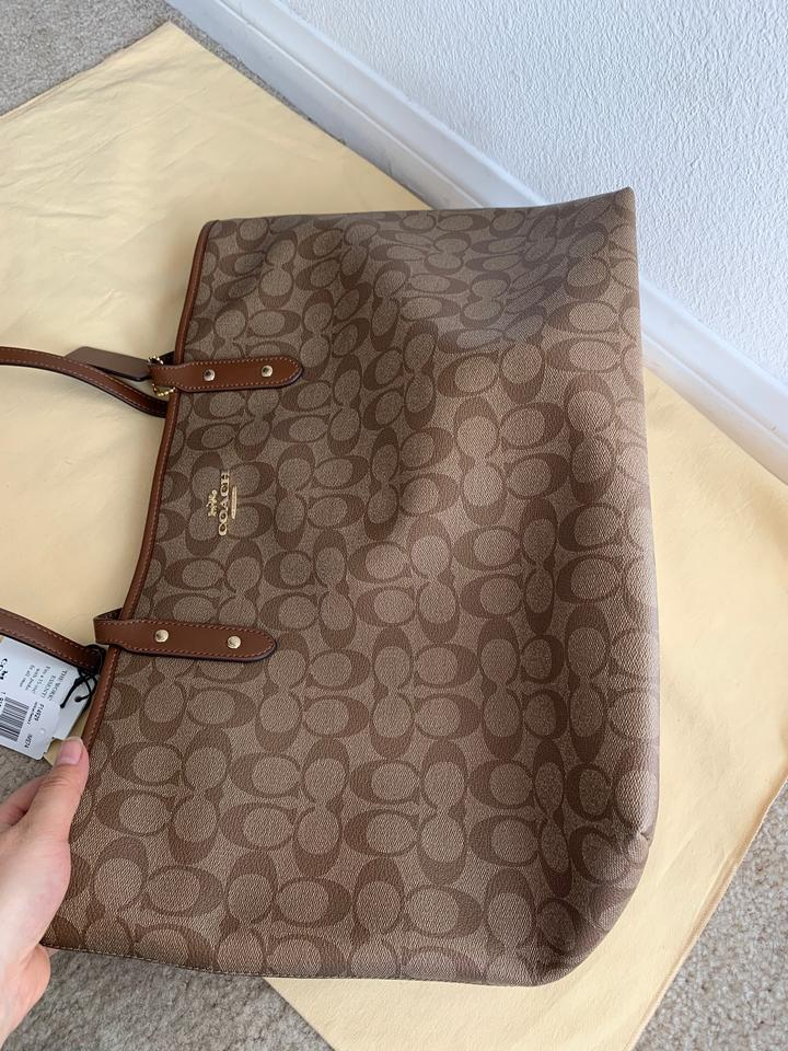 NWT COACH Large City Zip Tote Signature Canvas Leather Shoulder Large F14929