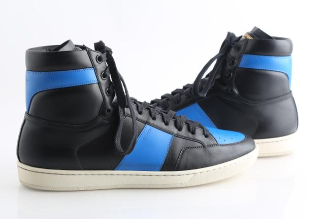 Item - Black/Blue Leather High-top Sneaker Shoes