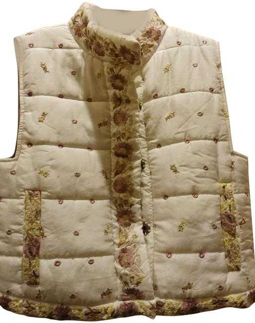 Burning Torch Ivory Multiple XS Edelweiss Embroidered Puffed Sky Vest Size 2 (XS) Burning Torch Ivory Multiple XS Edelweiss Embroidered Puffed Sky Vest Size 2 (XS) Image 1