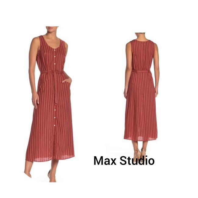 Item - Terrcota L Striped Sleeveless Button Up Midi L. Mid-length Casual Maxi Dress Size 12 (L)
