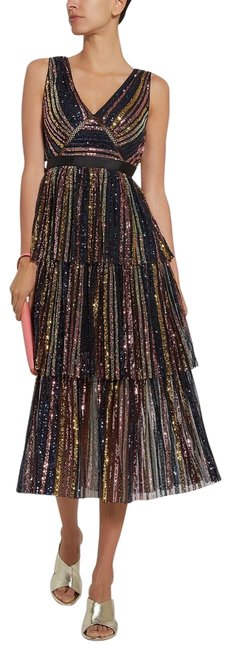 Item - Multicolor Tiered Sequin Mid-length Cocktail Dress Size 6 (S)
