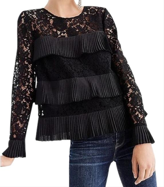 Item - Black Tiered Ruffle Lace Blouse Size 6 (S)