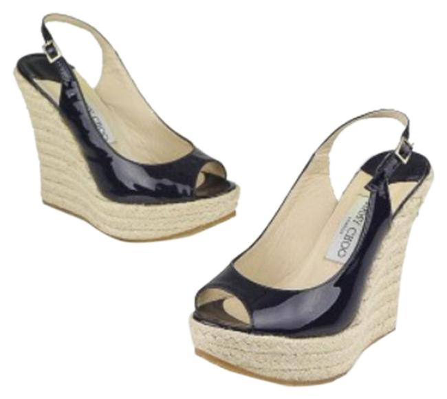 Item - Navy Patent Peep Toe Espadrille - Blue Wedges Size EU 39 (Approx. US 9) Regular (M, B)