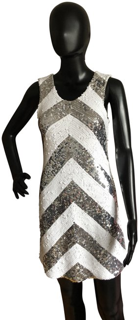 Item - Silver and White Sequin Chevron Short Night Out Dress Size 4 (S)