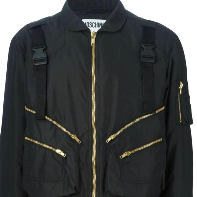 Item - Black Couture Jeremy Scott Unisex Ready To Bear Buckled Strap Bomber Activewear Outerwear Size 14 (L)