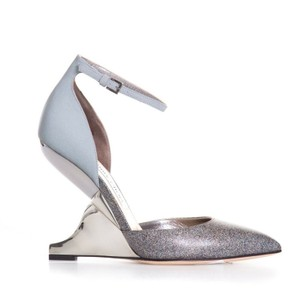 Jimmy Choo Reflective Silver Pointy Toe High Heels Structured Wedge Grey Pumps