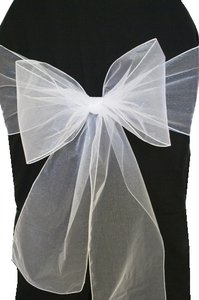 100 White Organza Chair Sashes