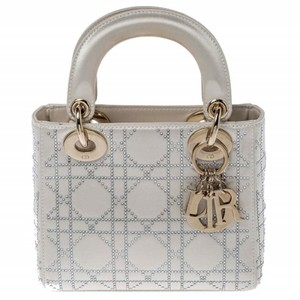 Dior Quilted Satin Tote in Cream