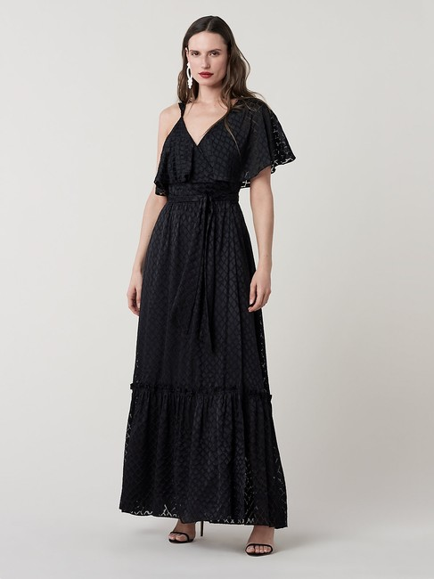 Item - Black Ella Ruffled Maxi Wrap In Long Night Out Dress Size 10 (M)