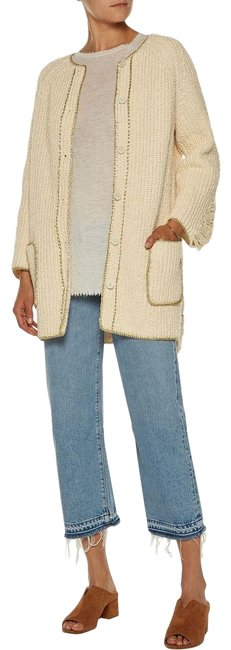 Item - Cream Metallic Open Knit-trimmed Distressed Cotton Cardigan Size 4 (S)