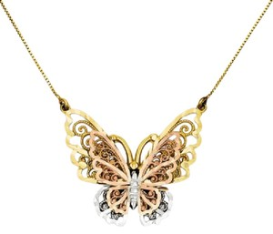 Apples of Gold 14K TRI-COLOR GOLD FILIGREE BUTTERFLY NECKLACE