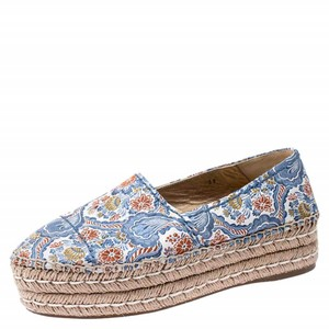 Prada Embroidered Canvas Platform Espadrille Leather Multicolor Flats