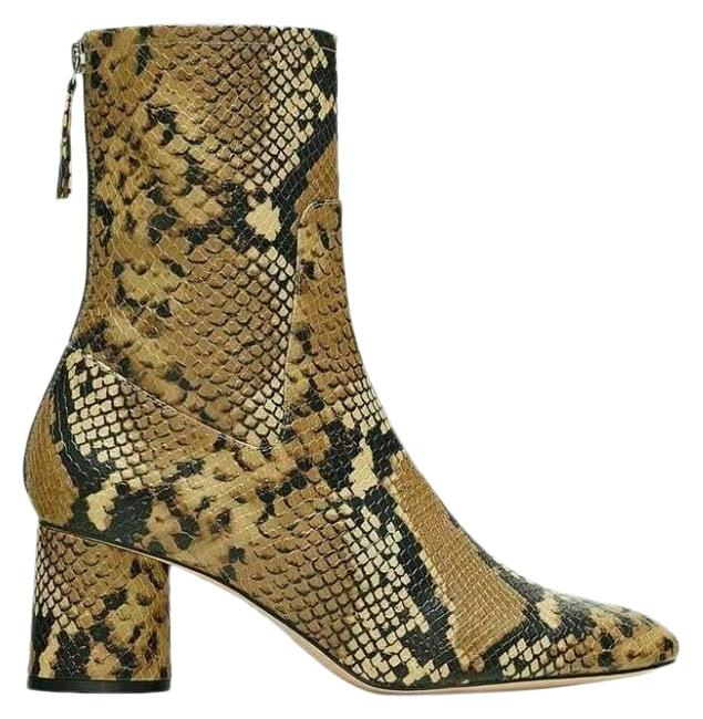 Item - Brown Heeled Animal Snake Print Boots/Booties Size US 6 Regular (M, B)