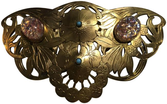 Item - Multicolor Gold Tone Cut Out Brass Brooch with Bezel Set Art Glass