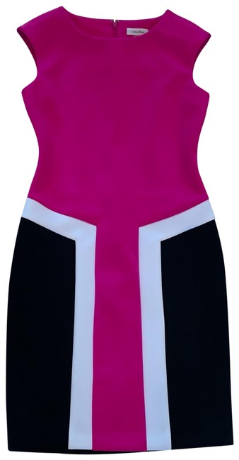 Item - Hot Pink White and Black Color Midi Mid-length Work/Office Dress Size 4 (S)