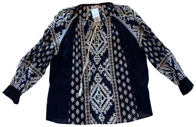 Tory Burch Blue and White Candice Small Navy Double Diamonds Blouse Size 4 (S) Tory Burch Blue and White Candice Small Navy Double Diamonds Blouse Size 4 (S) Image 1