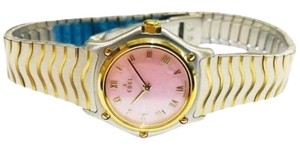 Ebel GORGEOUS!!! LIKE NEW!! Ladies Ebel Wave 18 Karat Yellow Gold and Stainless Steel Pink Mother of Pearl Dial Wristwatch