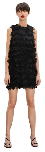 Item - Black W Knit A-line W/Fringe Short Casual Dress Size 8 (M)