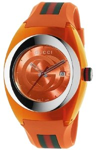 gucci Orange Unisex Swiss Sync Striped Rubber Strap 46mm Ya137108 Watch
