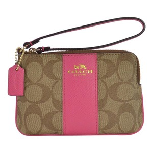 Coach Pouch Signature Leather Wristlet in Dahlia Pink