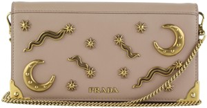 Prada Studded Cahier Convertible Moon And Star Beige Cross Body Bag