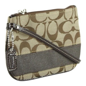 Coach Accessories Pouch Wristlet in Khaki Mahogany