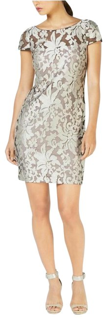 Item - Silver Sheer Embroidered Short Cocktail Dress Size 12 (L)