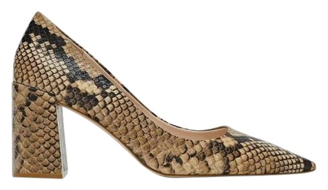 Item - Brown Snake Animal Patterns Leather Pumps Size US 6.5 Regular (M, B)