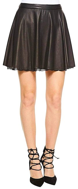 Item - Black Blaise Lace Hem Leather Skirt Size 8 (M, 29, 30)