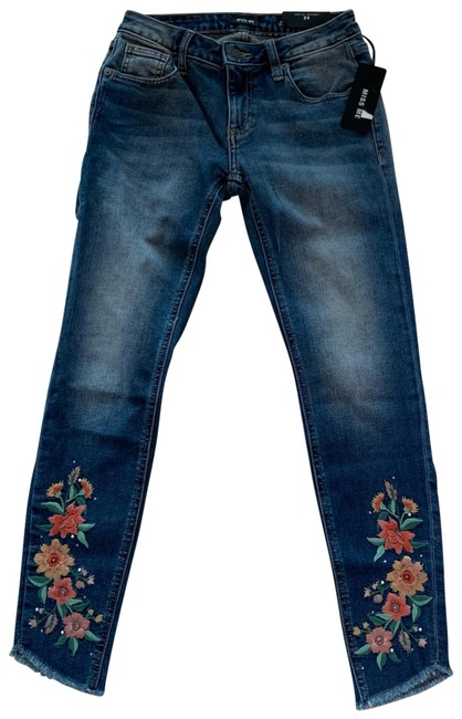Item - Blue and Pink Embroidered Medium Wash Ankle 24 Skinny Jeans Size 00 (XXS, 24)