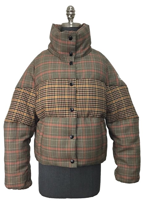 Item - Camel/ Red Multi Camel/ Checked Wool Blend Puffer Jacket Coat Size 8 (M)