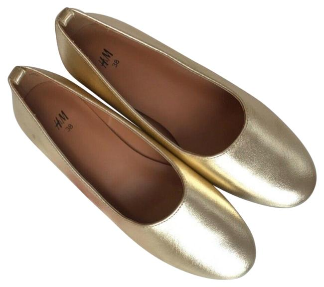 Item - Gold Metallic Block Heels Pumps Size US 7 Regular (M, B)