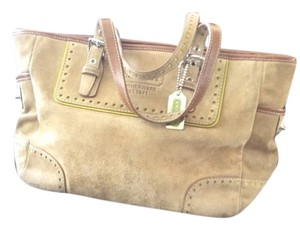 Coach Tote in Light Tan With Green accents
